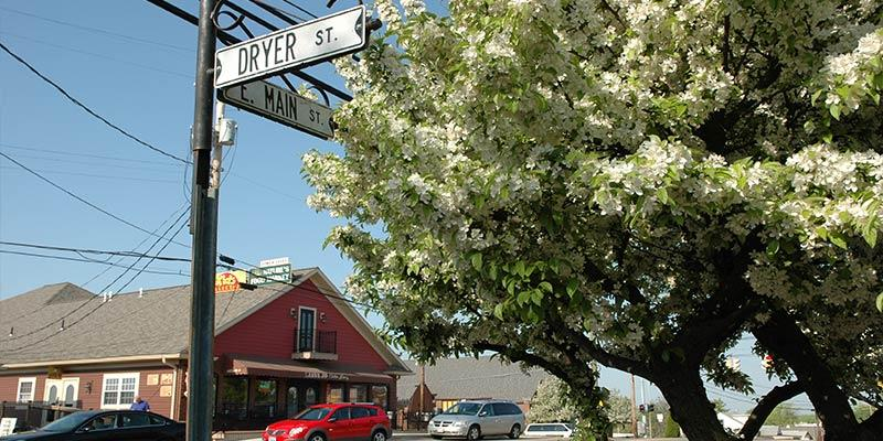 Street sign on the corner of Dyer St. and E. Main St., with a flowering tree in the foreground and a red building in the background