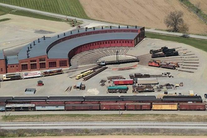 aerial view of roundhouse